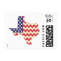 Texas Shaped Chevron Striped American Flag Stamps
