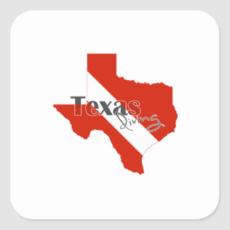 Texas Silhouette Diving Flag with Text Square Sticker