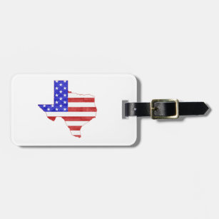 Texas Silhouette Shaped American Flag Bag Tag