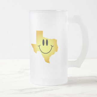 Texas Smiley Face Frosted Glass Beer Mug