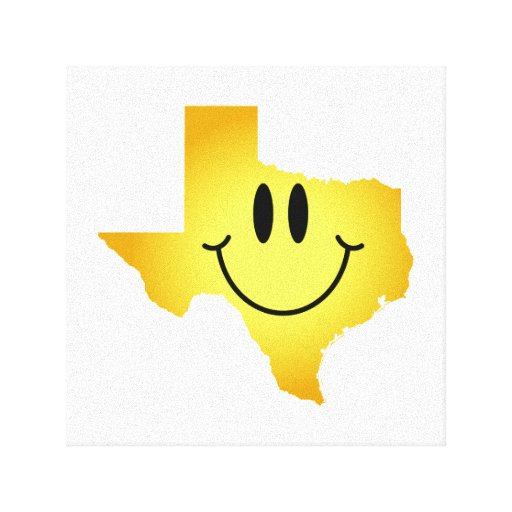 Texas Smiley Face Stretched Canvas Print