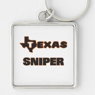 Texas Sniper Silver-Colored Square Keychain
