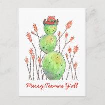 Texas Snowman Cactus Watercolor Christmas Postcard