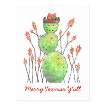 Texas Snowman Cactus Watercolor Christmas Postcard
