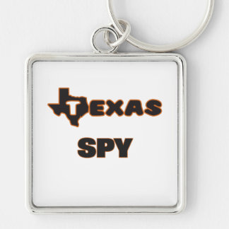 Texas Spy Silver-Colored Square Keychain