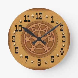 Texas Star Branded Leather Clock