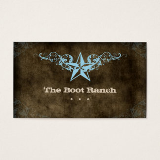 Texas Star Business Card Brown Suede Blue