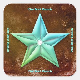 Texas Star Sticker Brown Blue Vintage Jewel Square