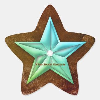 Texas Star Sticker Brown Blue Vintage Rust Jewel