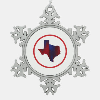 Texas State Abstract Red & Blue Snowflake Pewter Christmas Ornament