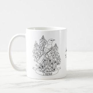 Texas State Bird & Flower Coloring Page Coffee Mug