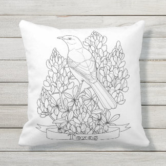 Texas State Bird & Flower Coloring Page Throw Pillow