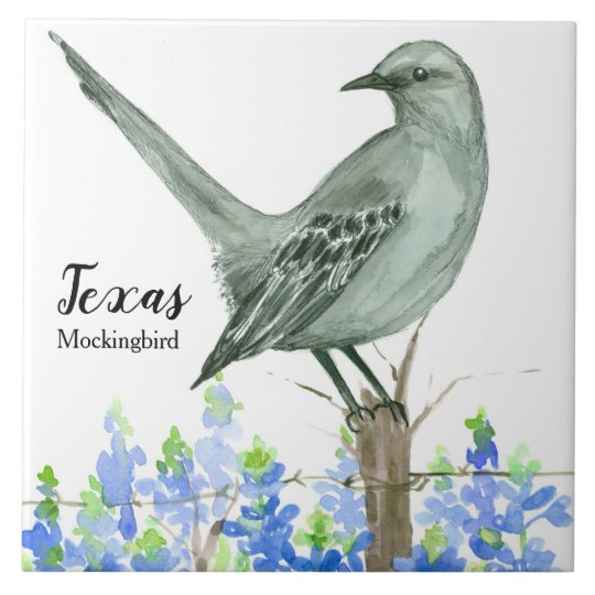 texas state bird mockingbird bluebonnet tile zazzle com