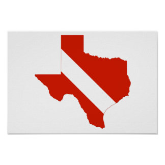 Texas State Dive Flag Poster