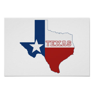 Texas State Flag and Map Poster