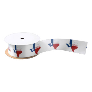 Texas State Flag and Map Satin Ribbon