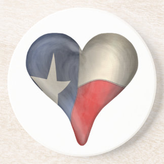 Texas State Flag In A Heart Beverage Coaster