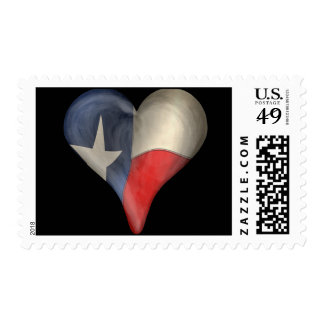Texas State Flag In A Heart Stamps