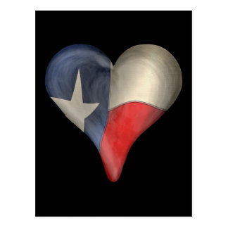 Texas State Flag In A Heart Postcard