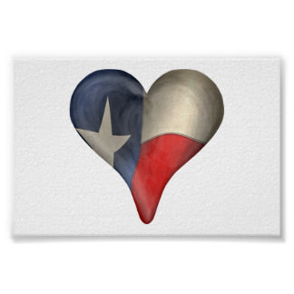 Texas State Flag In A Heart Poster
