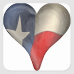 Texas State Flag In A Heart Square Sticker