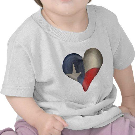 Texas State Flag In A Heart Tee Shirt