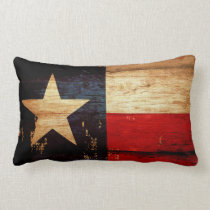 Texas State Flag in Rustic Wooden Grunge Look Lumbar Pillow