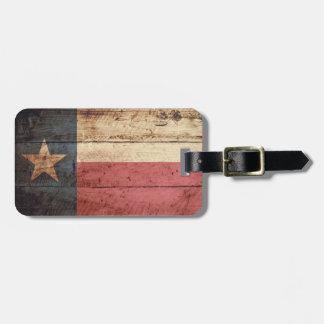 Texas State Flag on Old Wood Grain Bag Tag