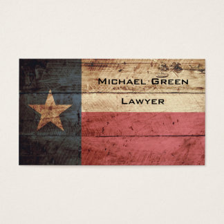 Texas State Flag on Old Wood Grain Business Card