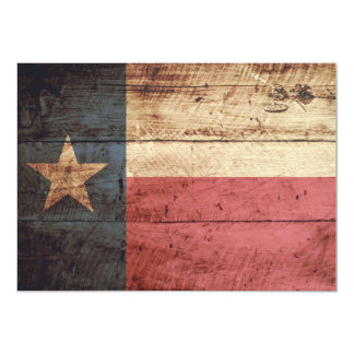 Texas State Flag on Old Wood Grain Card