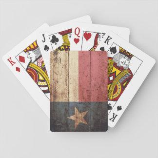 Texas State Flag on Old Wood Grain Card Decks