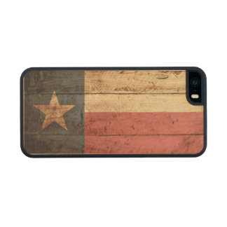 Texas State Flag on Old Wood Grain Carved® Maple iPhone 5 Case