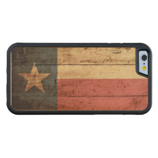 Texas State Flag on Old Wood Grain Carved® Maple iPhone 6 Bumper Case