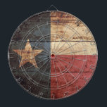 "Texas State Flag on Old Wood Grain Dartboard With Darts<br><div class=""desc"">Feel free to modify the design according to your own preferences. You may change the design location, orientation, background colors and size. Also, you may add your own text, or slogan set its font, location and size, all in order to create the ultimate personal gift for you and your loved...</div>"
