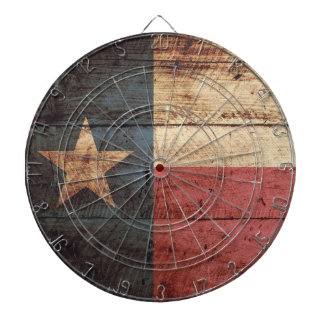 Texas State Flag on Old Wood Grain Dartboard With Darts