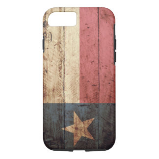 Texas State Flag on Old Wood Grain iPhone 7 Case