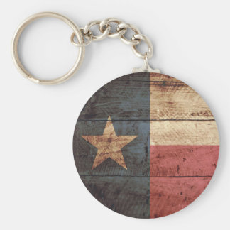 Texas State Flag on Old Wood Grain Keychain