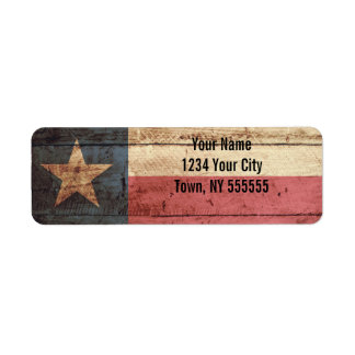 Texas State Flag on Old Wood Grain Label