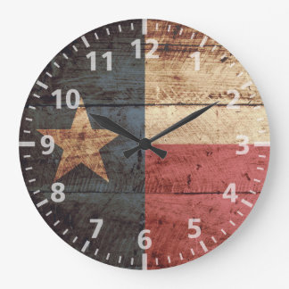 Texas State Flag on Old Wood Grain Large Clock