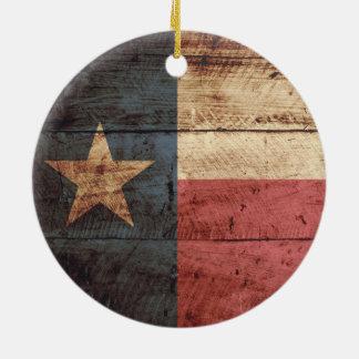 Texas State Flag on Old Wood Grain Christmas Tree Ornament