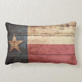 Texas State Flag on Old Wood Grain Throw Pillows