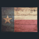 "Texas State Flag on Old Wood Grain Placemat<br><div class=""desc"">Feel free to modify the design according to your own preferences. You may change the design location, orientation, background colors and size. Also, you may add your own text, or slogan set its font, location and size, all in order to create the ultimate personal gift for you and your loved...</div>"