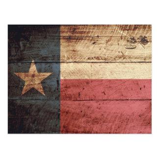 Texas State Flag on Old Wood Grain Postcard
