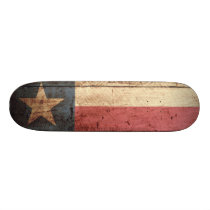 Texas State Flag on Old Wood Grain Skateboard