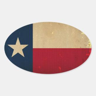 Texas State Flag VINTAGE Oval Sticker