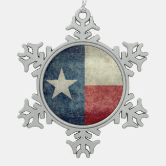 Texas state flag Vintage Pewter Snowflake Ornament