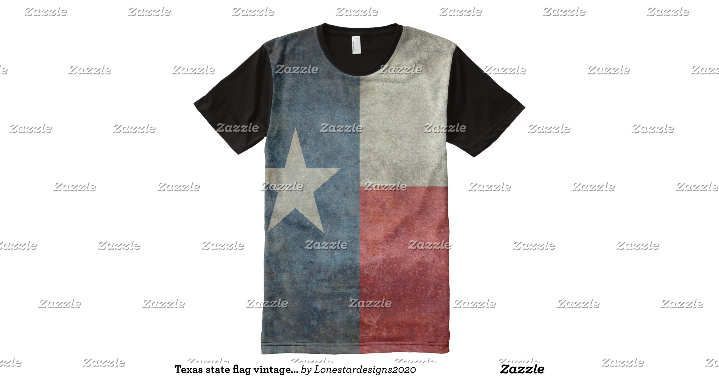 Texas state flag vintage retro style all over tee all over for Vista print tee shirt