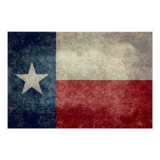 Texas state flag, Vintage retro style art poster