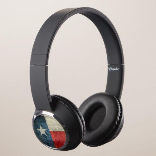 Texas state flag vintage retro style Headphones