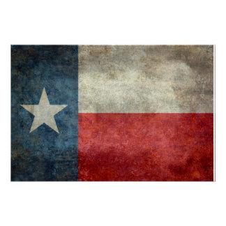 Texas state flag vintage retro style poster
